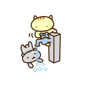 Illustrations of cats drinking tap water
