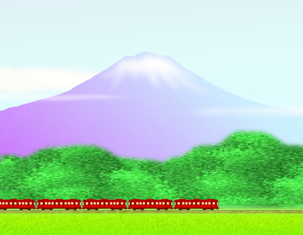 Mt. Fuji and the train