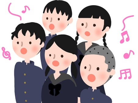 學生們認真地唱著一首歌