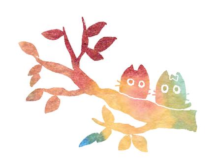 나무 위에 무지개 새끼 고양이