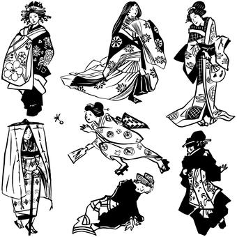 和服女性 黒一色使い 2