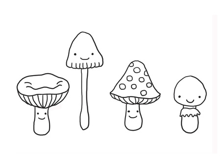 Four Mushrooms B & W