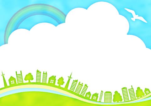 青空と鳥と木と家と虹の水彩風フレーム枠