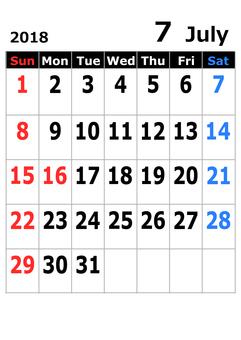 2018 calendar July