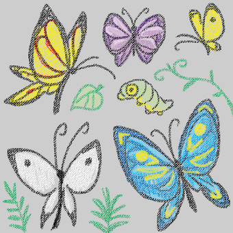 Butterfly drawn with crayon