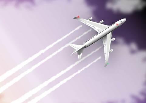 Night sky and airplane