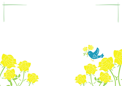 Yellow rose and blue bird frame