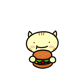 Animals eating hamburgers (cats)