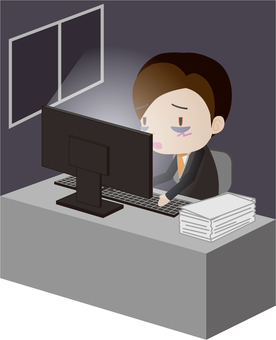 Overtime work (salaryman) background
