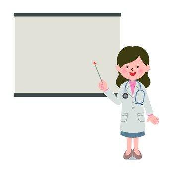 医療-女性医師とスクリーン