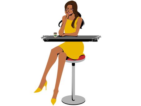 カフェで座る女性(黄色いドレス)