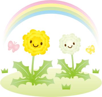 Illustration of dandelion, butterfly and rainbow
