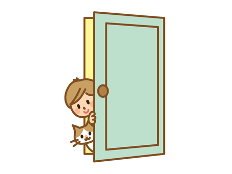 Boy and cat crawling from the door