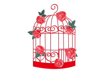 Fashionable bird cage red rose