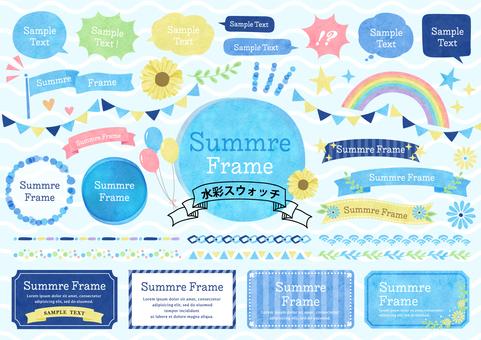 Seasonal material 102 Summer watercolor frame set