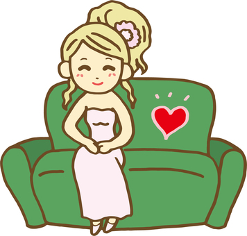 소파에 앉아 여성