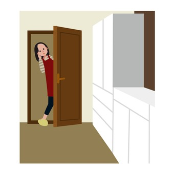 Woman looking into the room