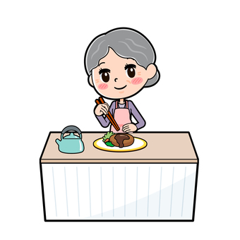 Senior women purple dishes served