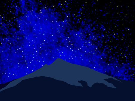 Starry sky and Mount Tsukuba