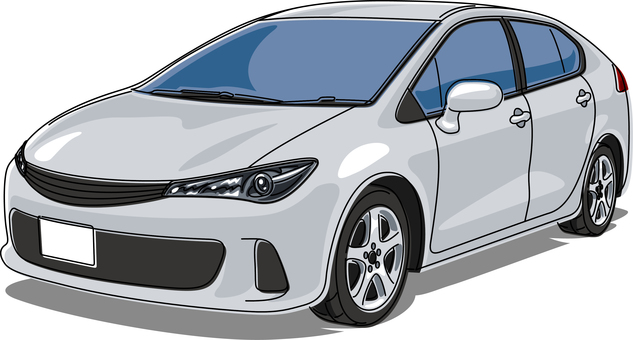 Car passenger car line drawing silver
