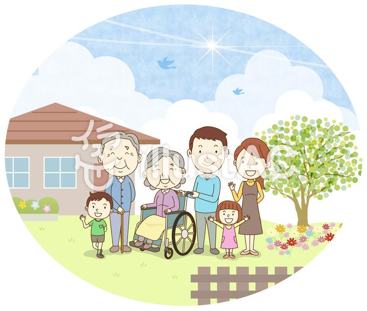 車いすのおばあちゃん6人家族背景ありイラスト No 1346885無料