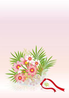 Cosmos & palm leaf bouquets 7