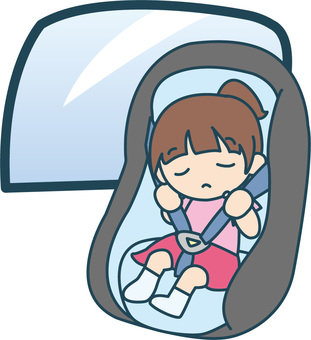 Girl sleeping in a child seat