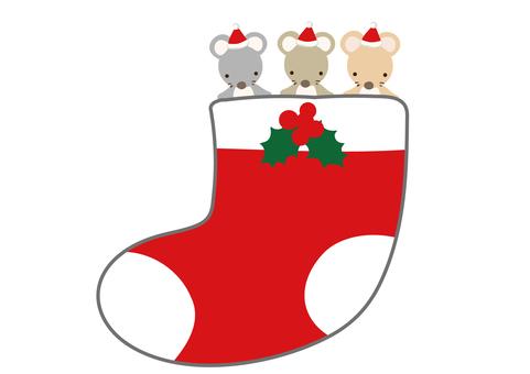 クリスマスの靴下 ねずみの3兄弟 柊