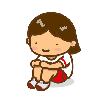 Physical education sitting girl A