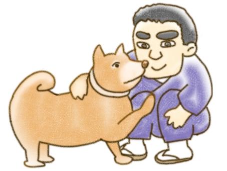 Saigo Takamori and a dog