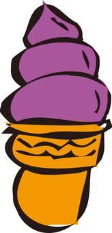 Soft cream, ice cream purple sweet potato