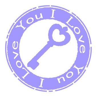 골동품 우표 열쇠 보라색