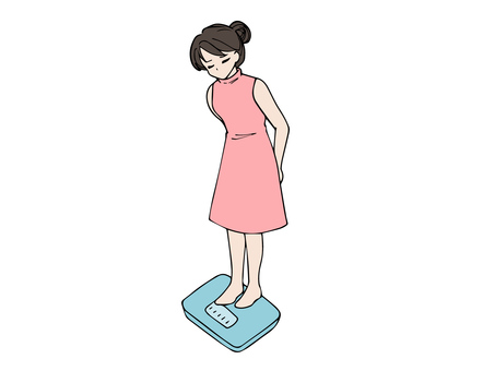 Woman riding a weight scale