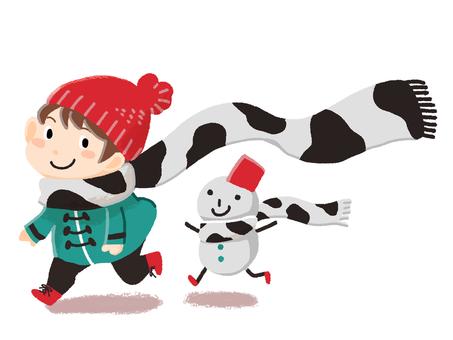 Cow pattern muffler and children