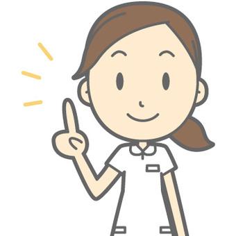 Mujer de la enfermera - señalando - busto