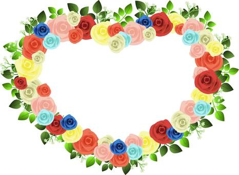 Rose colorful heart frame
