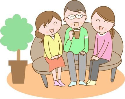 People sitting on the sofa