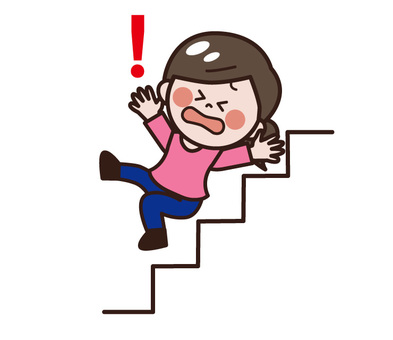 Stairs attention (women falling down stairs)