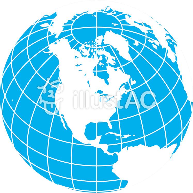 世界地図-北アメリカ中心-緯度経度のイラスト