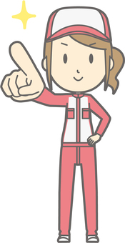 Mechanic woman - finger pointing confirmation - whole body