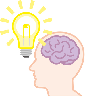 뇌 아이디어 번쩍임 전구