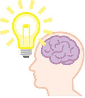 Brain idea flashlight bulb