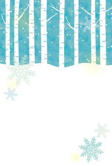 눈과 자작 나무 숲의 카드 (세로)