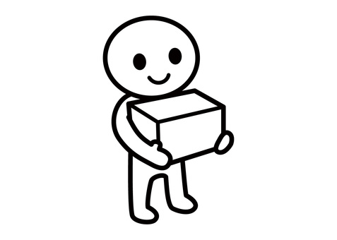Stick man - a person with a box