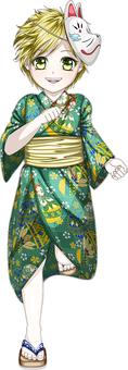 Boy running with a green yukata full body