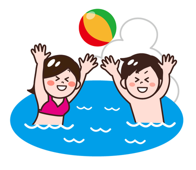 Male / female playing with beach ball in the sea