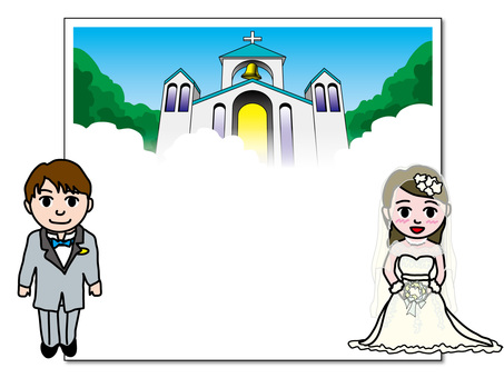 Character board wedding ceremony (1) bride and groom and church