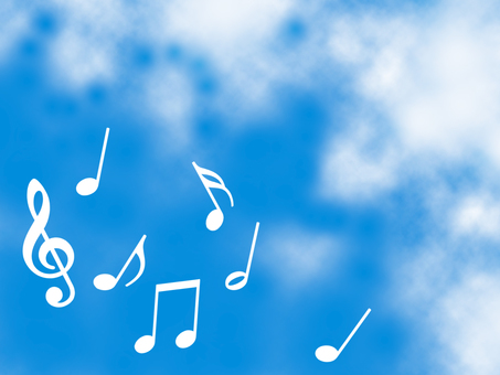 Musical note and sky wallpaper simple background material illustration