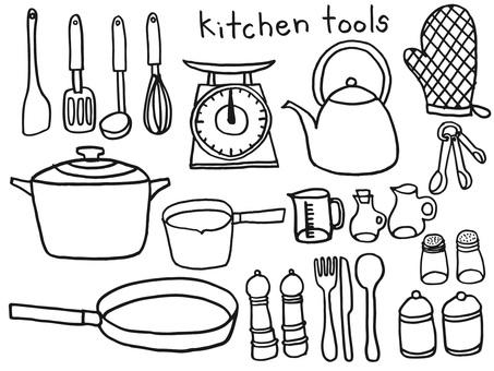 キッチンツールモノクロ