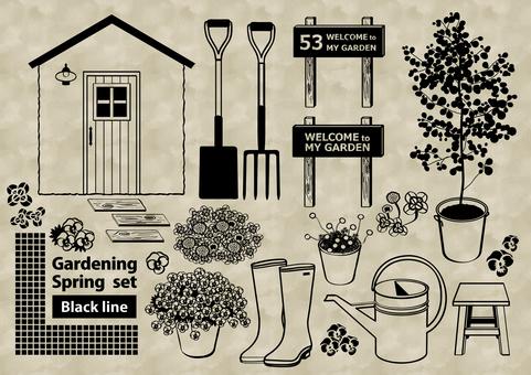 Gardening set spring drawing